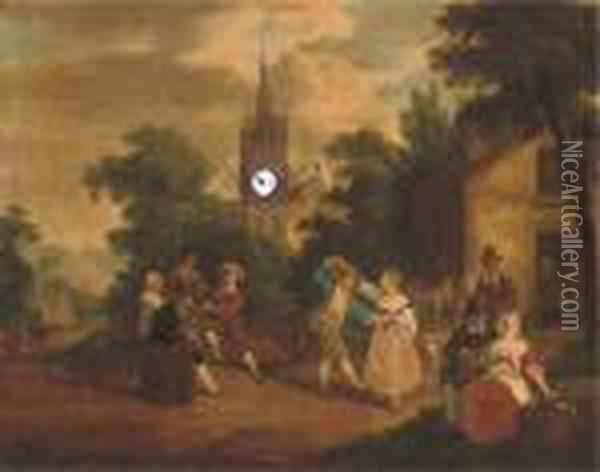 Village Celebrations Oil Painting - David The Younger Teniers