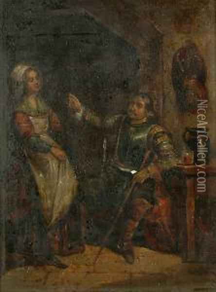A Soldier And A Serving Girl Oil Painting - David The Younger Teniers