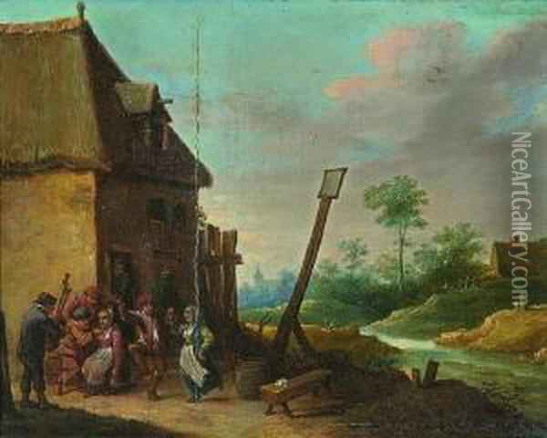 Rechts Ein Bachlauf Oil Painting - David The Younger Teniers