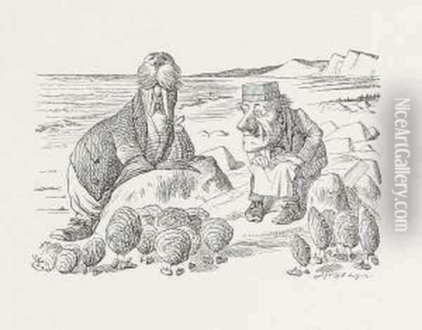'but Wait A Bit - The Oyster Cried - 'before We Have Our Chat' Oil Painting - John Tenniel