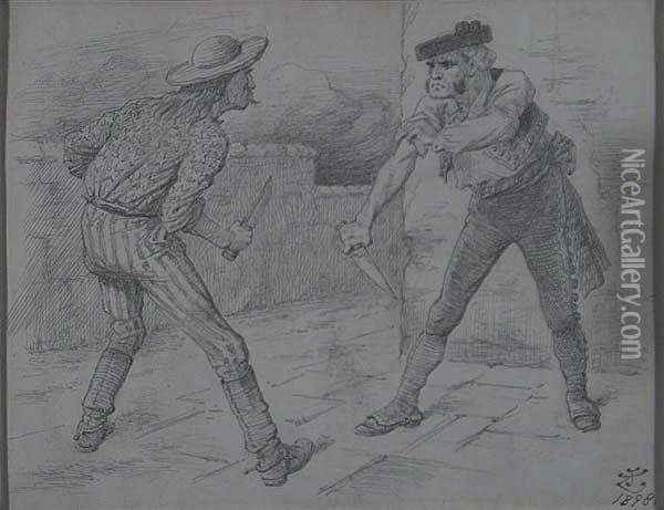 U. S. And Spain As Two Men Confronting Each Other With Knives. Oil Painting - John Tenniel