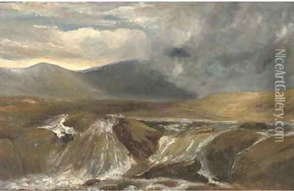 A Highland torrent Oil Painting - Joseph Farquharson