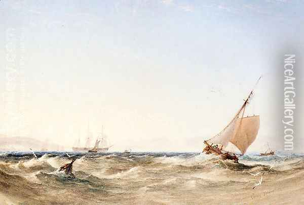 Shipping Off The Coast Oil Painting - Anthony Vandyke Copley Fielding