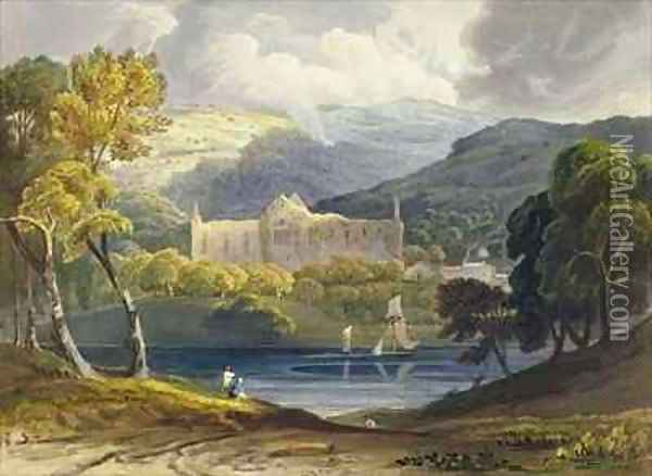 North View of Tintern Abbey from Picturesque Illustrations of the River Wye Oil Painting - Anthony Vandyke Copley Fielding