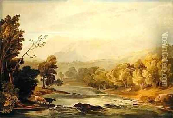 A View on the Brathay near Ambleside Oil Painting - Anthony Vandyke Copley Fielding