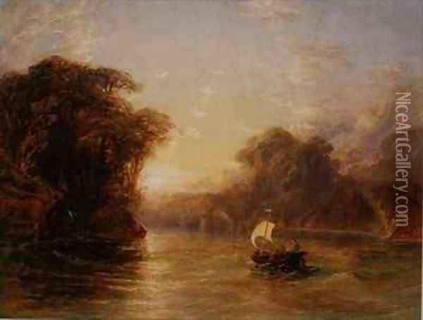 Ubaldo and Carlo in the Enchanted Boat Oil Painting - Anthony Vandyke Copley Fielding
