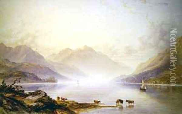 Loch Lomond at Dawn Oil Painting - Anthony Vandyke Copley Fielding