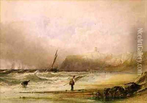 A Breezy Day at Scarborough Oil Painting - Anthony Vandyke Copley Fielding