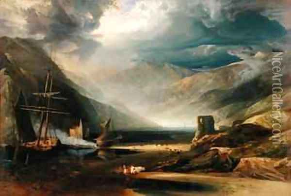 A Storm Passing Off on the Coast of Merionethshire Oil Painting - Anthony Vandyke Copley Fielding