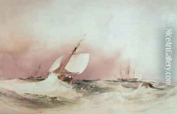 Seascape off the South Coast Oil Painting - Anthony Vandyke Copley Fielding