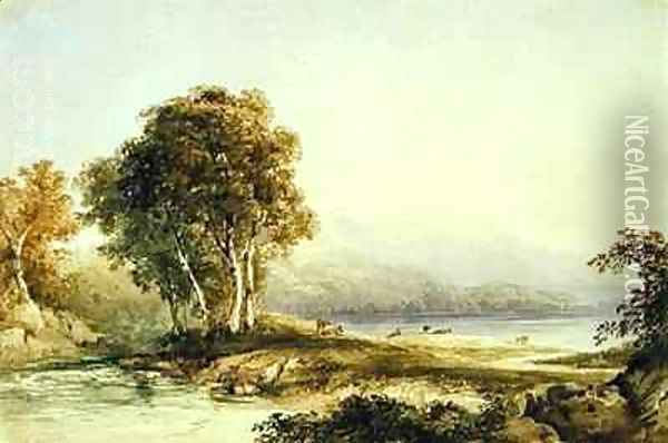Mountainous Landscape with Lake and Stream Oil Painting - Anthony Vandyke Copley Fielding