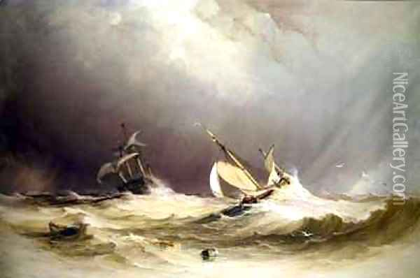 Shipping off Portsmouth Oil Painting - Anthony Vandyke Copley Fielding