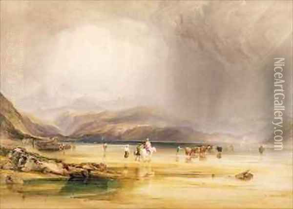 View from Snowdon from Sands of Traeth Mawe taken at the Ford between Pont Aberglaslyn and Tremadoc Oil Painting - Anthony Vandyke Copley Fielding