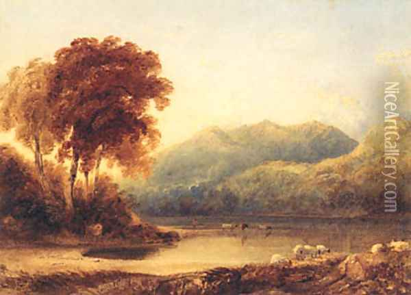 A Herder with Cattle at the Edge of a Lake in a mountainous Landscape Oil Painting - Anthony Vandyke Copley Fielding
