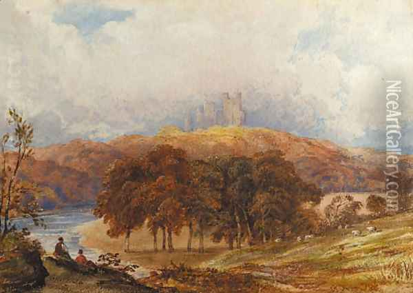 A view of Penrhyn Castle, Wales, with figures in the foreground Oil Painting - Anthony Vandyke Copley Fielding