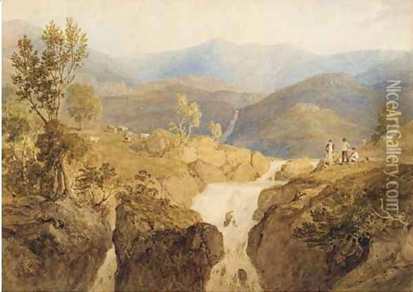 Coniston Beck, Lake District Oil Painting - Anthony Vandyke Copley Fielding