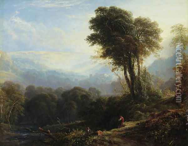 Distant view of Rievaulx Abbey, near Helmsley, Yorkshire Oil Painting - Anthony Vandyke Copley Fielding
