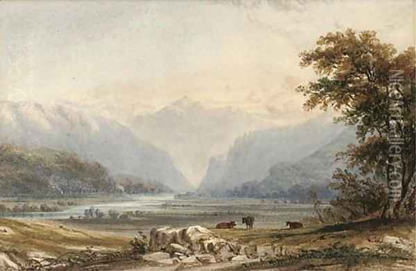 Evening, cattle grazing by a lake Oil Painting - Anthony Vandyke Copley Fielding