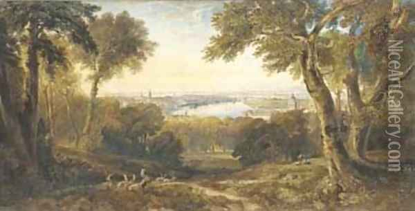 An extensive view of Greenwich, London Oil Painting - Anthony Vandyke Copley Fielding