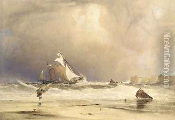 Fishing boats in a stiff breeze, off shore Oil Painting - Anthony Vandyke Copley Fielding