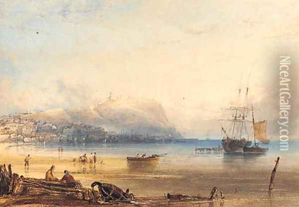 Scarborough, with a boat being vitalled in the harbour Oil Painting - Anthony Vandyke Copley Fielding