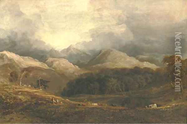View from Pont Aberglaslyn looking west towards Moel Hebog and the Aberglaslyn woods, Caernarvanshire, north Wales Oil Painting - Anthony Vandyke Copley Fielding
