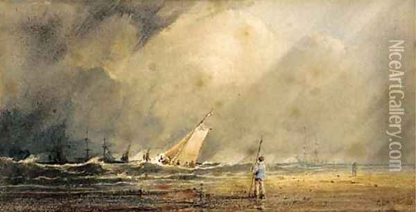 A figure standing on a beach with shipping beyond Oil Painting - Anthony Vandyke Copley Fielding