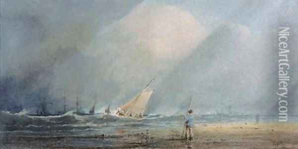 A fishing vessel heading out to sea in a squall Oil Painting - Anthony Vandyke Copley Fielding