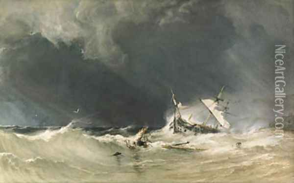 A shipwreck on the Yorkshire coast. Oil Painting - Anthony Vandyke Copley Fielding