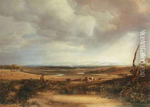 Distant view of the Cumberland Hills from Eskdale Oil Painting - Anthony Vandyke Copley Fielding