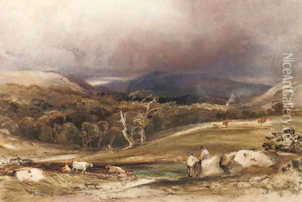 An extensive landscape with cattle and figures in the foreground Oil Painting - Anthony Vandyke Copley Fielding