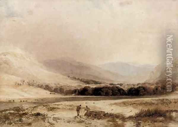 Figures conversing in a highland landscape Oil Painting - Anthony Vandyke Copley Fielding