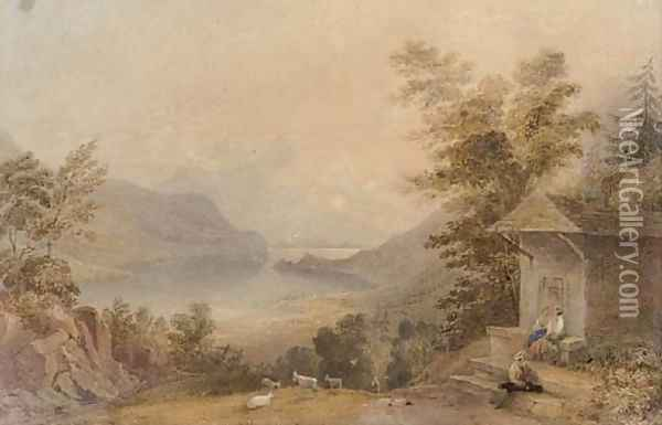 Figures conversing in a mountainous lake landscape Oil Painting - Anthony Vandyke Copley Fielding