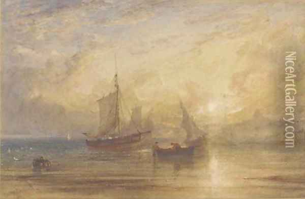 Off Ramsgate at sunset Oil Painting - Anthony Vandyke Copley Fielding
