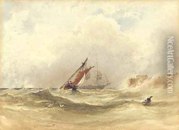 Shipping in rough seas Oil Painting - Anthony Vandyke Copley Fielding
