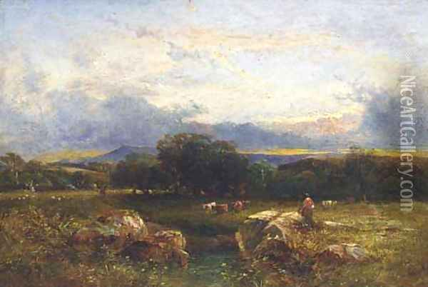 Sunset, Sussex Oil Painting - Anthony Vandyke Copley Fielding