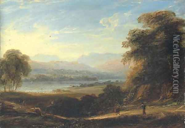 View of Langdale Pikes and Ullswater Oil Painting - Anthony Vandyke Copley Fielding