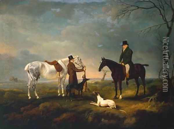 Sir Robert Leighton after Coursing, with a Groom and a Couple of Greyhounds Oil Painting - John Snr Ferneley