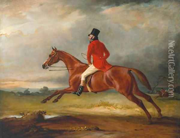 Major Healey, Wearing Raby Hunt Uniform, Riding with the Sedgefield Hunt Oil Painting - John Snr Ferneley
