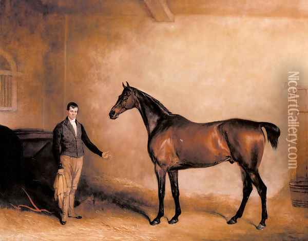 Mr. C. N. Hogg's Claxton and a Groom in a Stable Oil Painting - John Snr Ferneley