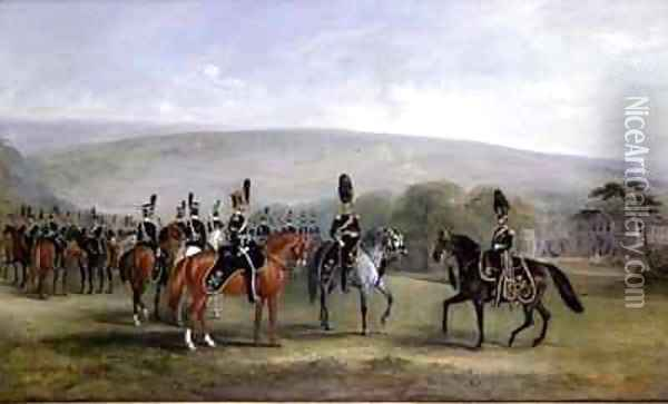 B Troop of the 2nd West Yorkshire Yeomanry Cavalry Oil Painting - John Snr Ferneley