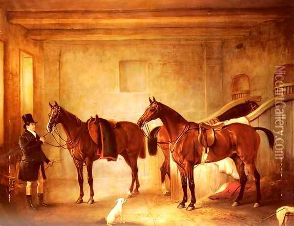 Sir John Thorold's Bay Hunters With Their Groom In A Stable Oil Painting - John Snr Ferneley