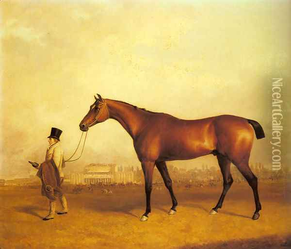 Emlius, Winter of the 1832 Derby, held by a Groom at Doncaster Oil Painting - John Snr Ferneley