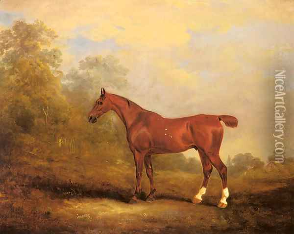 Cecil, a favorite Hunter of the Earl of Jersey in a Landscape Oil Painting - John Snr Ferneley