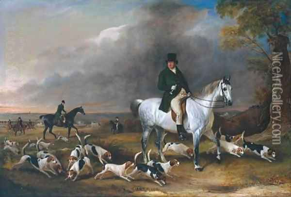 John Burgess of Clipstone, Nottinghamshire, on a Favourite Horse, with his Harriers Oil Painting - John Snr Ferneley