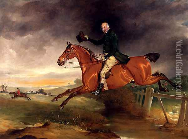 Mr George Marriott On His Bay Hunter Taking A Fence Oil Painting - John Snr Ferneley