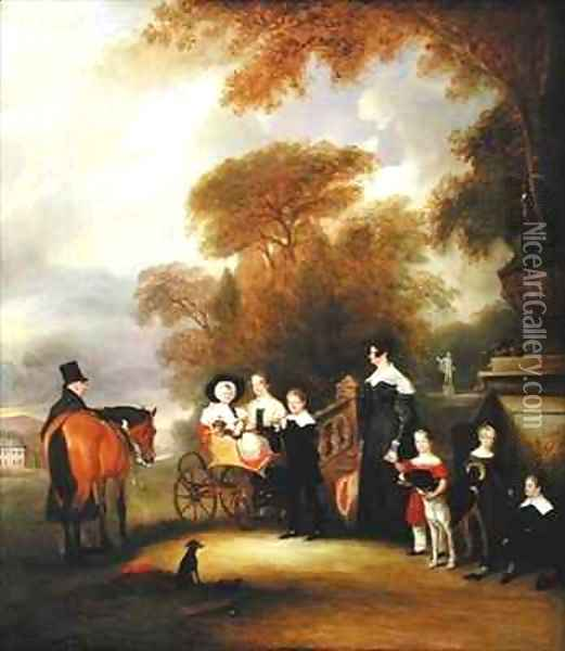 The Rev and Mrs Henry Palmer with their six younger children at Withcote Hall Near Oakham Leicestershire Oil Painting - John Snr Ferneley