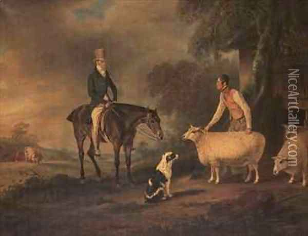 Sir John Palmer on his favourite mare with shepherd Joseph Green and prize Leicester Longwool sheep Oil Painting - John Snr Ferneley