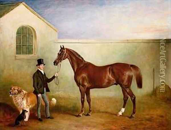Mr Meakin holding Sir Robert Peels Chestnut Hunter with his dogs Hector and Jem Oil Painting - John Snr Ferneley
