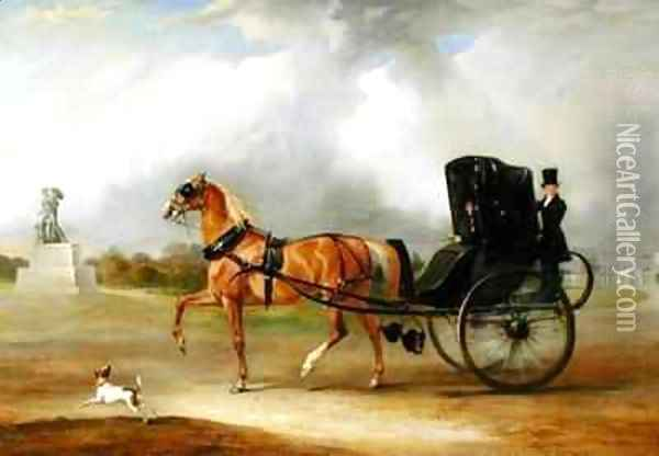 William Massey Stanley Driving his Cabriolet in Hyde Park Oil Painting - John Snr Ferneley